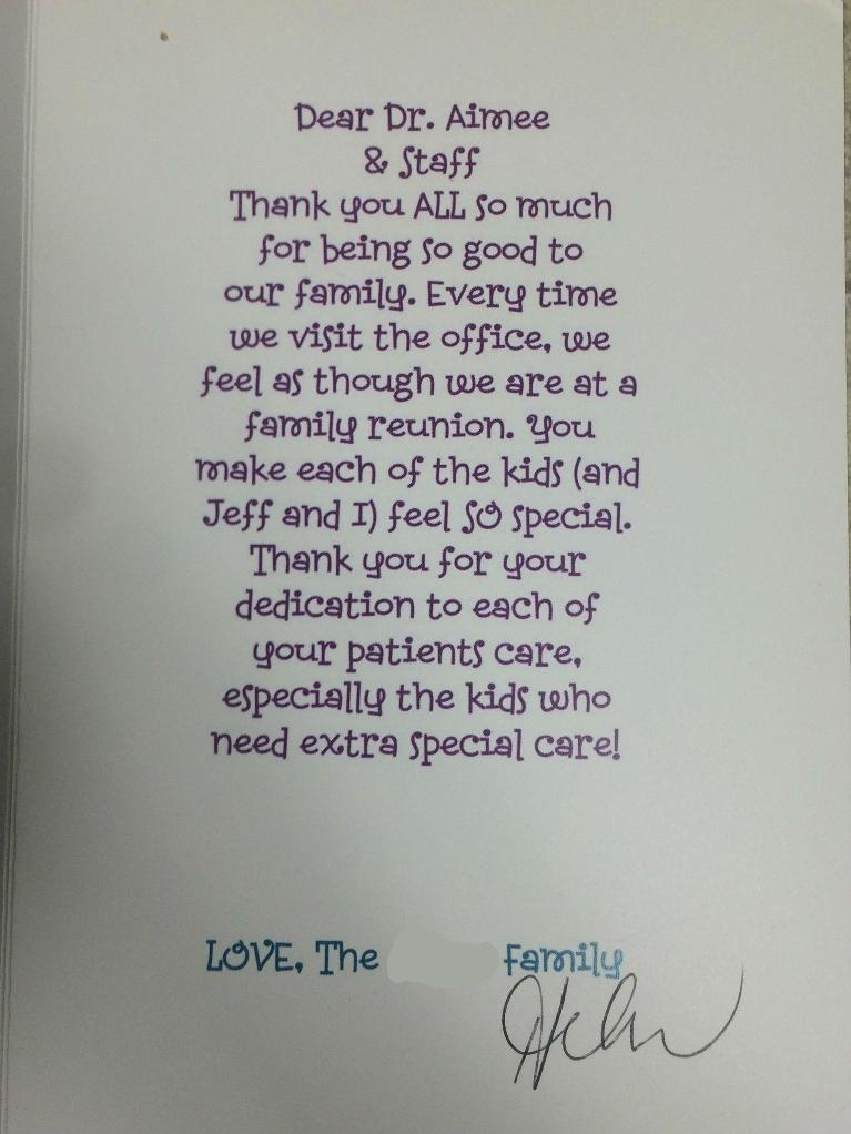 Thank you for your dedication to each of your patients!
